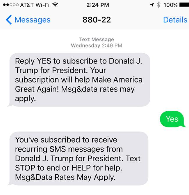 استفاده دونالد ترامپ از پنل اس ام اس تبلیغاتی در انتخابات