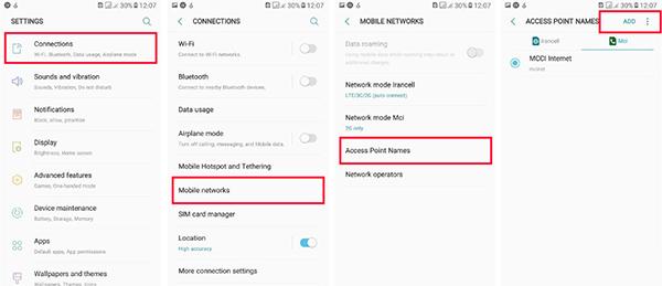 مراحل تنظیمات اینترنت همراه اول