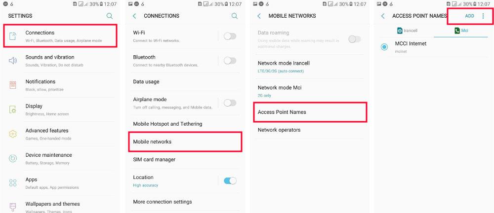 تنظیمات اینترنت همراه اول در اندروید