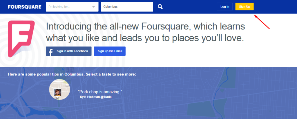 Foursquare Business Listing Step 1