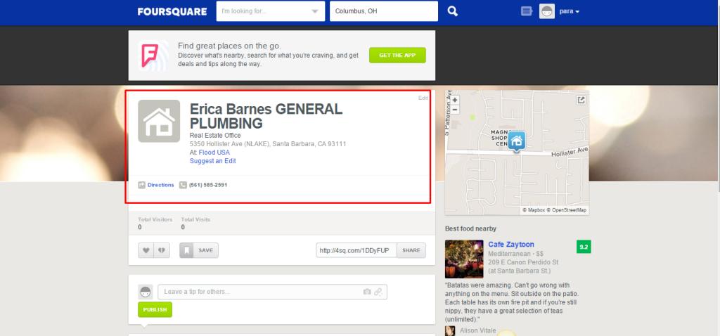 ثبت مکان تجاری درفوراسکوئر foursquare