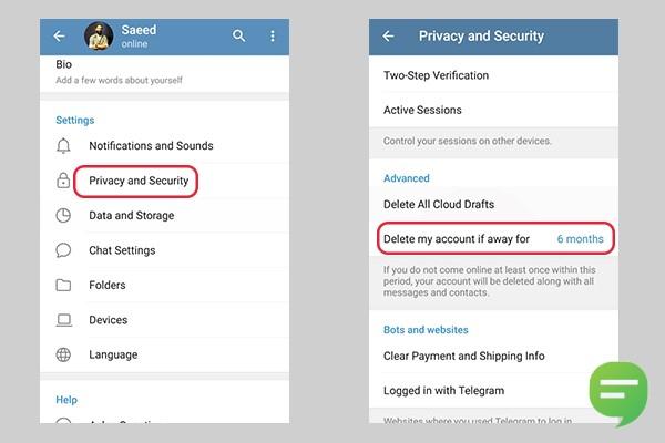 حذف خودکار تلگرام