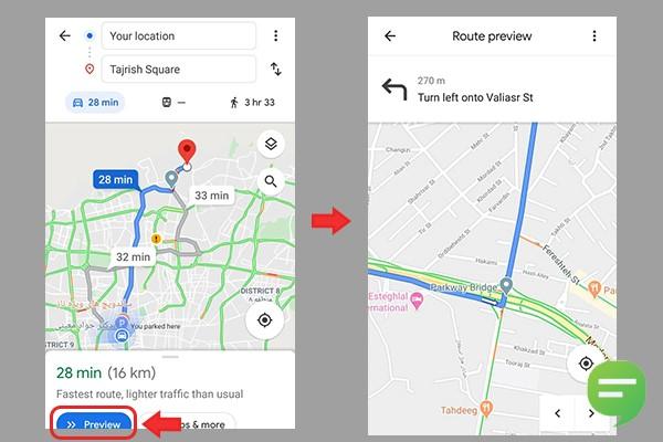 پیش نمایش مسیر در گوگل مپ