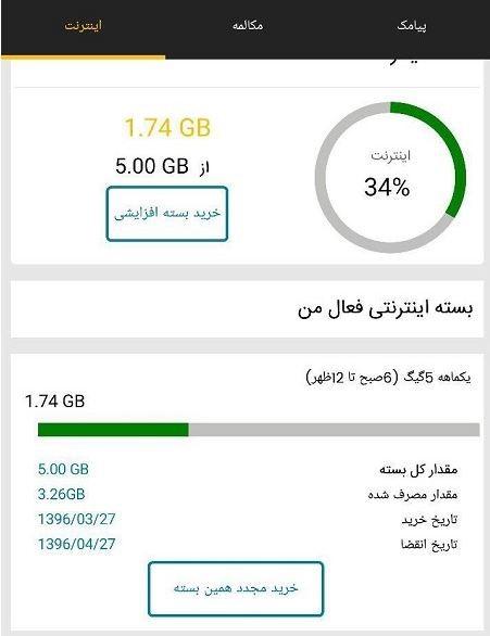 باقیمانده اینترنت ایرانسل