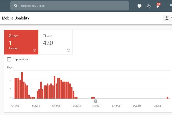 بررسی عملکرد موبایل در گوگل سرچ کنسول